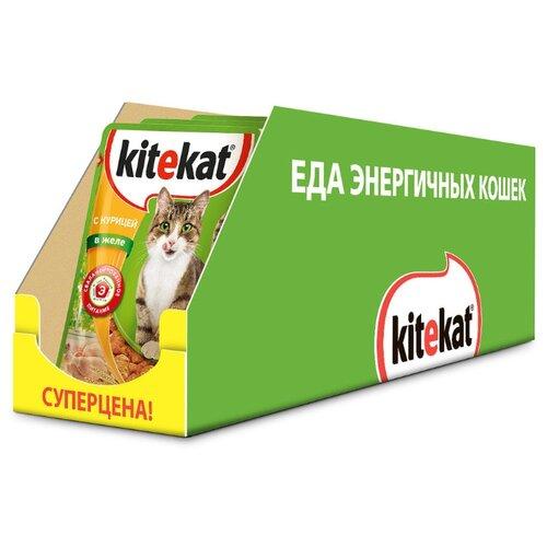 Влажный корм для кошек Kitekat с курицей 24шт. х 85 г (кусочки в желе)