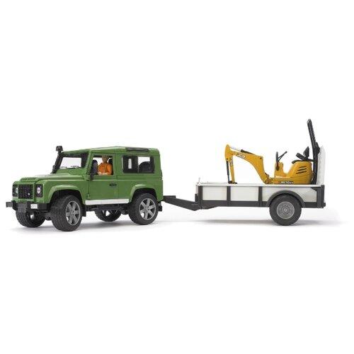 Купить Набор машин Bruder Внедорожник Land Rover Defender c прицепом и экскаватором 8010 CTS (02-593) 1:16 зеленый/желтый, Машинки и техника