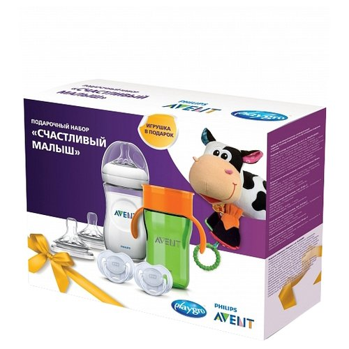Купить Philips AVENT Подарочный набор «Счастливый малыш» (7 предметов) SCF1503, зеленый, Бутылочки и ниблеры