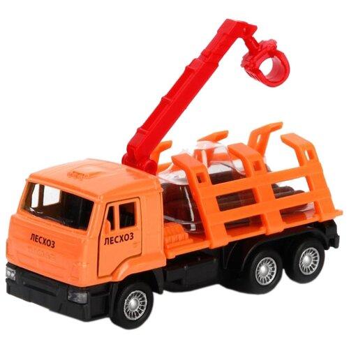 Купить Грузовик ТЕХНОПАРК КамАЗ Лесовоз (SB-16-27-B1-WB) 12 см оранжевый, Машинки и техника