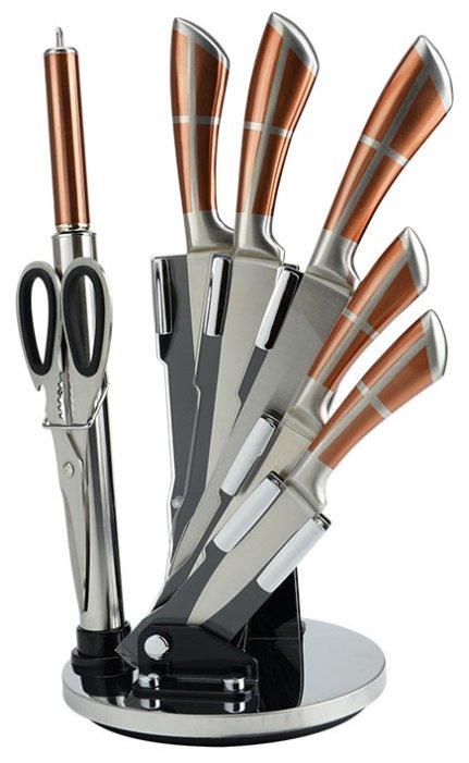 Набор Alpenkok 5 ножей, ножницы и мусат с подставкой АК-2090