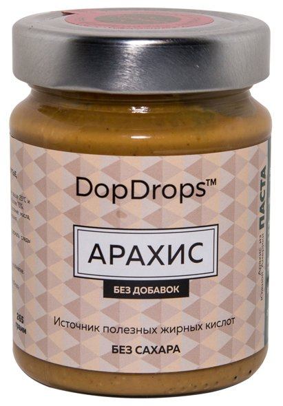 DopDrops Паста ореховая Арахис без добавок стекло