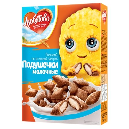 Готовый завтрак Любятово Подушечки молочные, коробка, 250 г