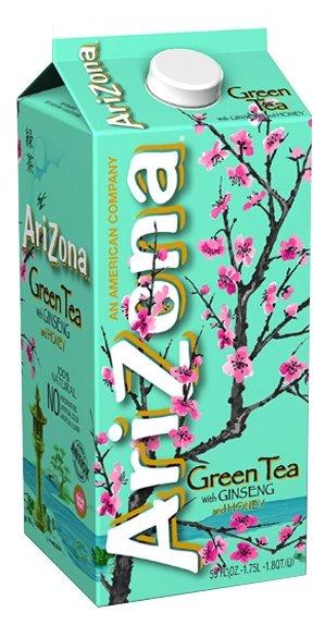 Чай AriZona Green Tea with Ginseng and Honey, тетра-пак