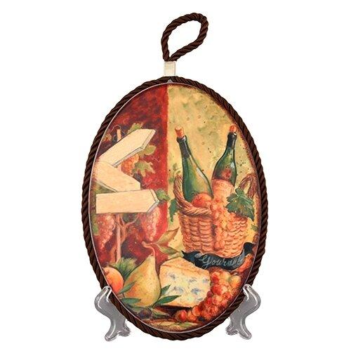 Подставка под горячее Elan gallery Натюрморт с сыром 19*13*1 см., овальная, коричневый шнурок подставка под горячее rosenberg 16 5 см