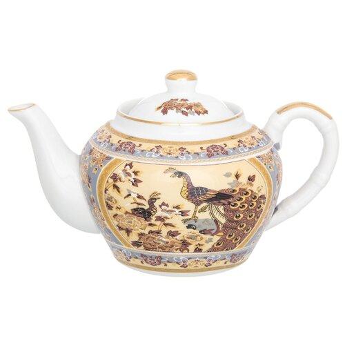 Elan gallery Заварочный чайник с металлическим ситом 700 мл Павлин на бежевомЗаварочные чайники<br>