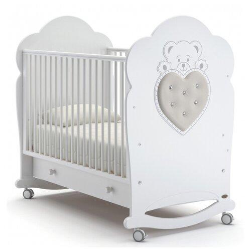 Купить Кроватка Nuovita Fortuna (колесо) (качалка), на полозьях белый, Кроватки
