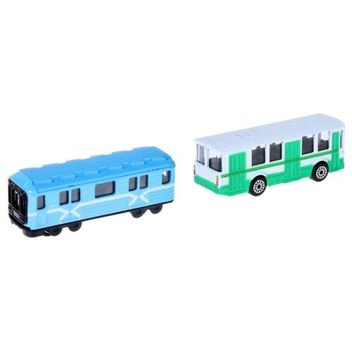 Купить Набор машин ТЕХНОПАРК Городской транспорт (SB-15-06-BLС) 7.5 см голубой/зеленый/желтый, Машинки и техника