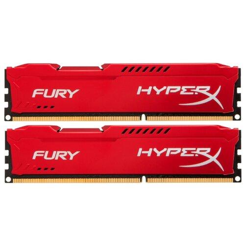 Фото - Оперативная память HyperX Fury DDR3 1600 (PC 12800) DIMM 240 pin, 4 GB 2 шт. 1.5 В, CL 10, HX316C10FRK2/8 оперативная память corsair xms ddr3 1600 pc 12800 dimm 240 pin 8 гб 1 шт 1 5 в cl 11 cmx8gx3m1a1600c11