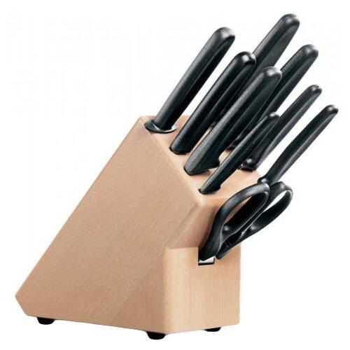 Набор VICTORINOX Standart 6 ножей, вилка для разделки мяса, кухонные ножницы, мусат с подставкой черный/коричневый набор из 6 ножей для стейков victorinox swissclassic 11 см серейторная заточка чёрная рукоять