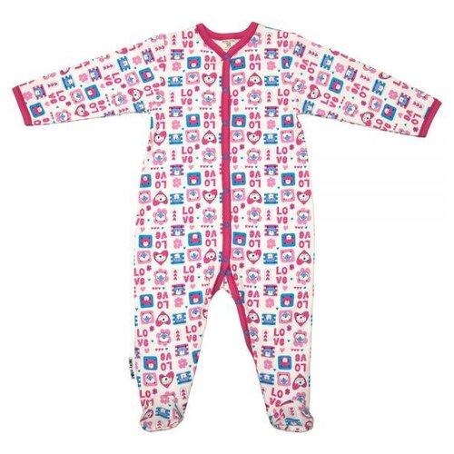 Комбинезон lucky child размер 18 (56-62), молочный;розовый;бирюзовый распашонка для девочки lucky child цветочки цвет светло розовый 11 7 размер 62 68 2 3 месяца