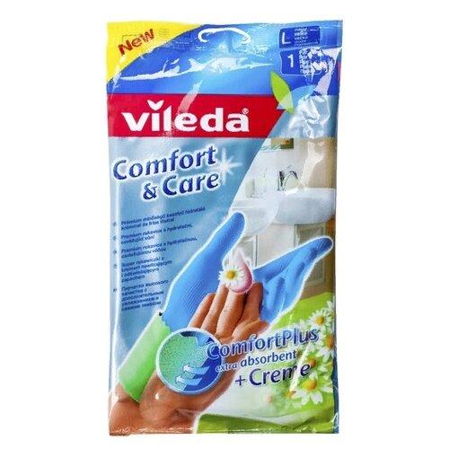 Перчатки Vileda Comfort & Care с кремом для чувствительной кожи, 1 пара, размер L, цвет голубой