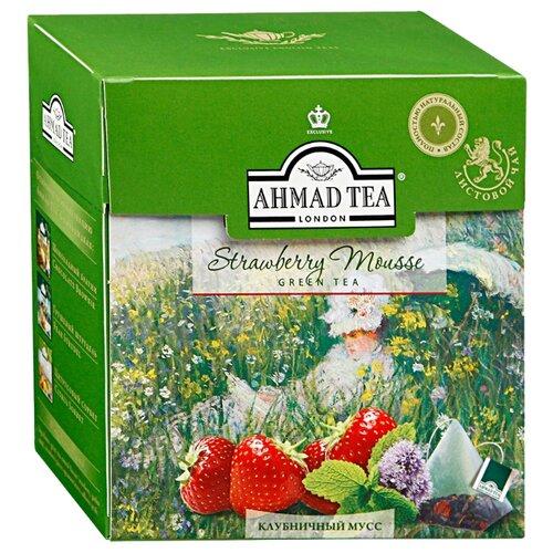 Чай зеленый Ahmad tea Strawberry mouss в пирамидках, 36 г, 20 шт. чай ahmad tea strawberry mousse зеленый 20 пакетиков