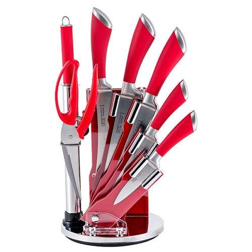 Набор GIPFEL Mirella 5 ножей, ножницы и мусат с подставкой красный