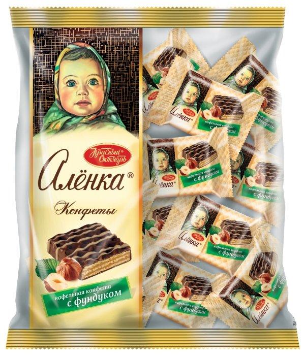 Конфеты Алёнка вафельные с фундуком, пакет