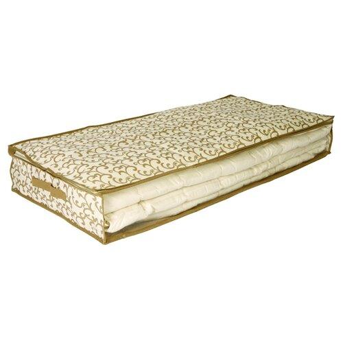 HAUSMANN Кофр для хранения одеял AA302 100х50х15 см бежевый с вензелями