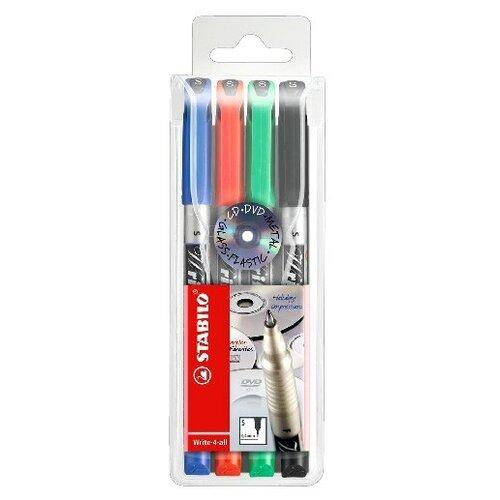 STABILO Набор маркерных ручек WRITE-4-ALL, 4 шт. (146/4) маркер stabilo стабило write 4 all 0 4мм синий