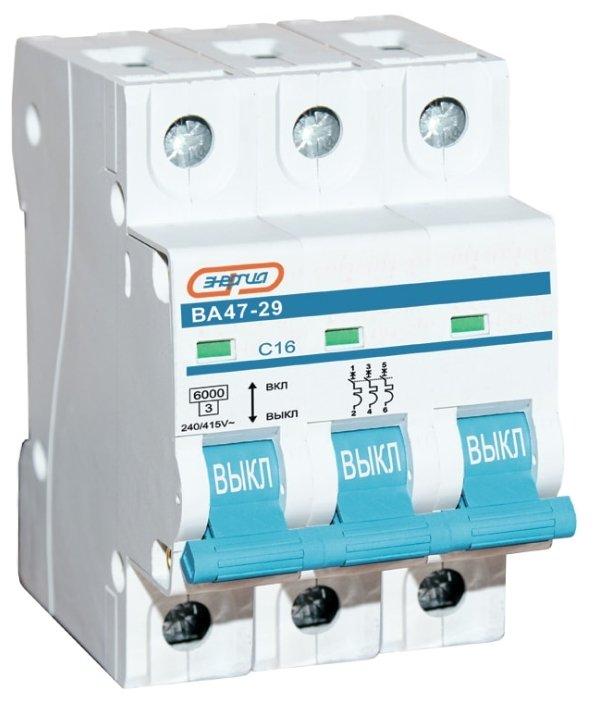 Автоматический выключатель Энергия ВА 47-29 3P 25A (C) 6kA
