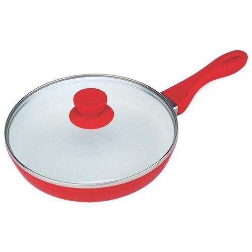 Сковорода Bohmann BH-7022WC 22 см с крышкой, съемная ручка, красный сковорода bohmann 372124вн серый диаметр 24 см