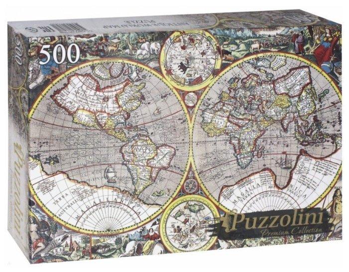Пазл Рыжий кот Puzzolini Древняя карта мира (KBPZ500-7698), 500 дет.
