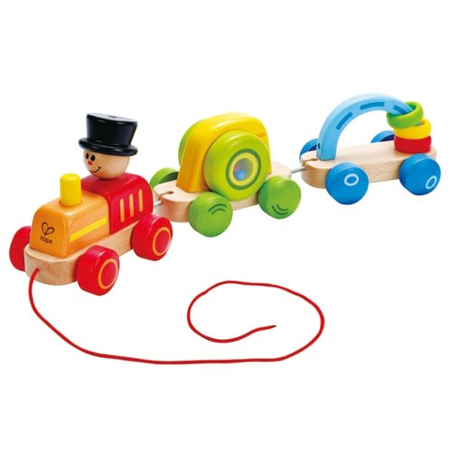 Каталка-игрушка Hape Triple Play Train (E0431) красный/зеленый/голубой/желтый игрушка пластмассовая каталка вертолет play smart pac 28х15х10 см арт 1192