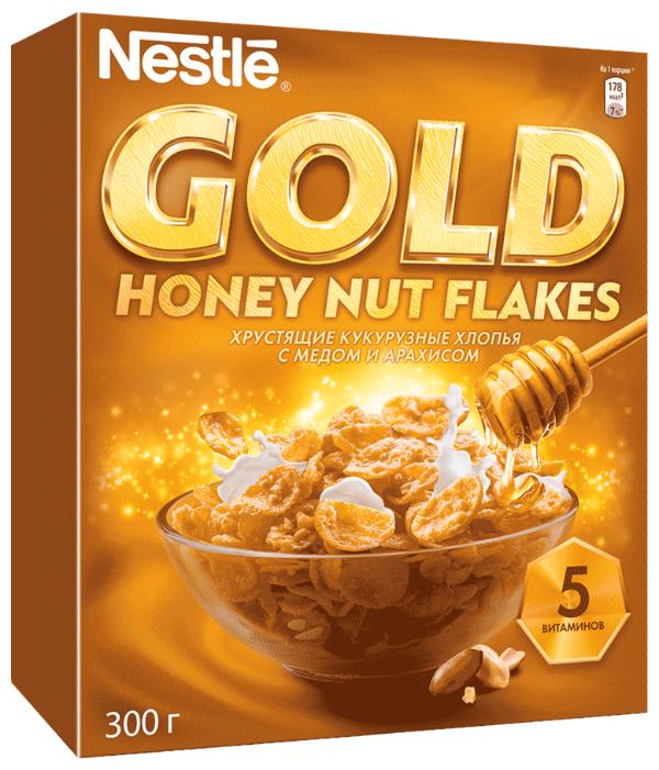 Готовый завтрак Nestle Gold Honey Nut Flakes хлопья, коробка, 300 г