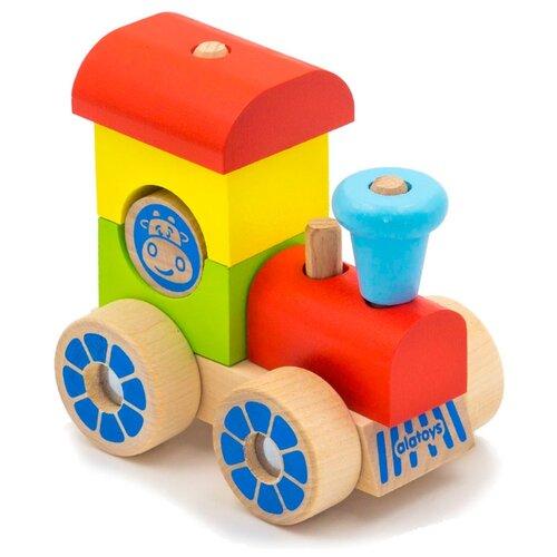 Купить Каталка-игрушка Alatoys Паровозик (ККП02) красный/голубой/зеленый/желтый, Каталки и качалки