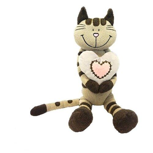 maxitoys мягкая игрушка maxitoys luxury slim лисичка с цветочком 33 см Мягкая игрушка Maxitoys Кот Полосатик с сердцем 33 см