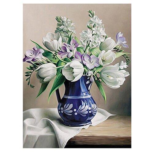 Алмазная живопись Набор алмазной вышивки Белые тюльпаны (АЖ-1503) 30х40 смАлмазная вышивка<br>