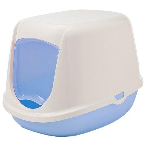 Туалет-домик для кошек SAVIC Duchesse 44.5х35.5х32 см белый/голубой