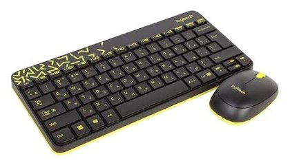 Клавиатура + мышь Logitech Wireless Combo MK240 Nano Black/Yellow (920-008213)