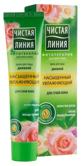 Чистая линия Крем для лица дневной для сухой кожи Лепестки роз
