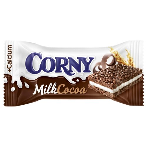 Злаковый батончик Corny Milk Cocoa с молоком и какао, 30 г батончик злаковый fortuche вишня с семенами подсолнечника льна тыквы 25 г