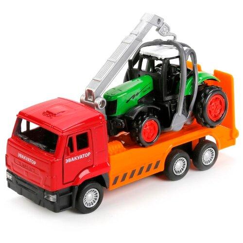 Набор машин ТЕХНОПАРК КамАЗ эвакуатор с трактором (SB-17-24-J-WB) зеленый/красный/оранжевый фото