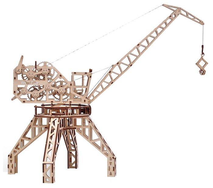 Сборная модель Wood Trick Подъемный кран с контейнером (1234-5)