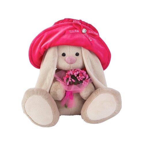 Мягкая игрушка Зайка Ми в бархатной шляпе и с букетиком 18 см