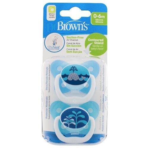 Пустышка силиконовая ортодонтическая Dr. Brown's Prevent Contoured 0-6 м (2 шт.) голубой/кит пустышка силиконовая классическая dr brown s happypaci 0 6 м 1 шт розовый