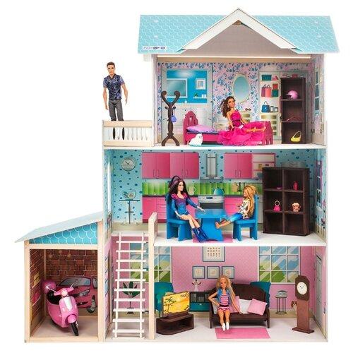 paremo кукольный домик эмилия романья с мебелью pd318 04 розовый голубой PAREMO кукольный домик Беатрис Гранд (с мебелью) PD318-12, белый/голубой/розовый
