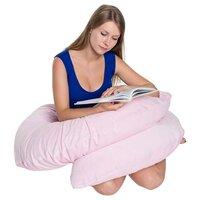 Подушка БиоСон С 220х40 холлофайбер, наволочка из сатина розовый