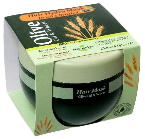 HerbOlive Маска для волос с пшеницей для сухих волос увлажнение и питание