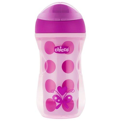 Купить Поильник-непроливайка Chicco Active Cup, 266 мл розовый/рисунок горох, Поильники