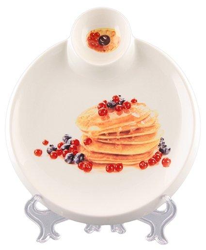 Elan gallery Тарелка Блины с ягодами с отделением для соуса 20 см