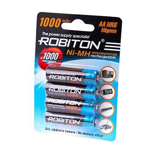 Фото - Аккумулятор Ni-Mh 1000 мА·ч ROBITON AA HR6 Mignon 1000, 4 шт. аккумулятор ni mh 200 ма·ч robiton 9v крона 6f22 200 1 шт