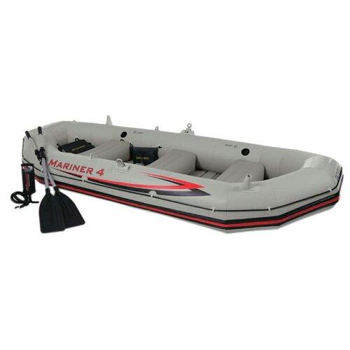 цена на Надувная лодка Intex Mariner-4 Set (68376) серый/красный
