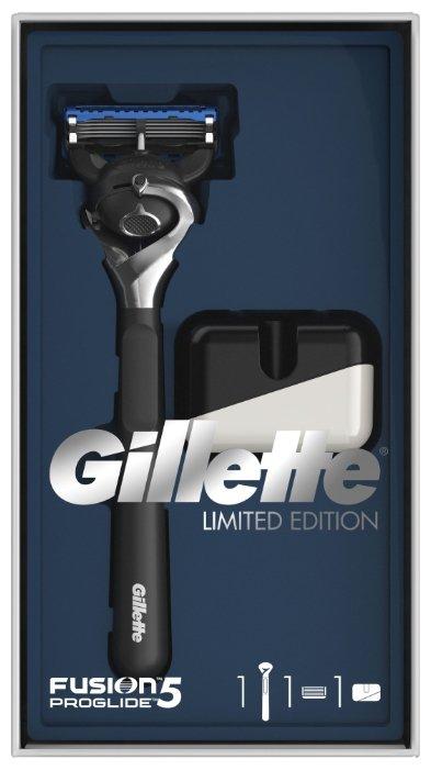 Набор Gillette подарочный: подставка, бритвенный станок Fusion5 ProGlide Flexball ограниченная серия с черной ручкой Limited Edition