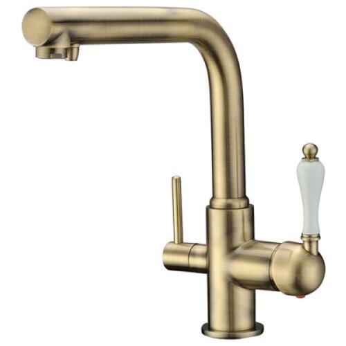 Смеситель для кухни (мойки) KAISER 31144-3 bronze однорычажный бронза/белый