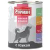 Корм для собак Четвероногий Гурман Мясной рацион язык 6шт. х 850г (для крупных пород)