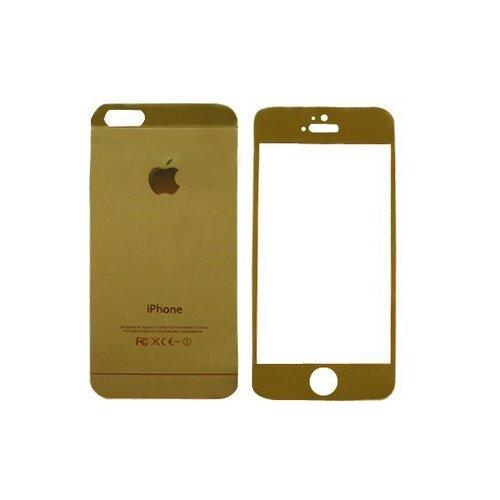 Защитное стекло CaseGuru зеркальное Front & Back для Apple iPhone 4/4S Logo goldЗащитные пленки и стекла<br>