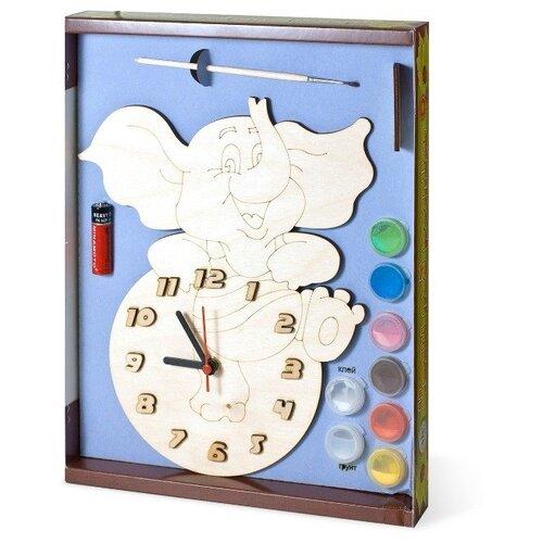 Нескучные игры Набор для росписи Часы с циферблатом Слоник (ДНИ123) нескучные игры набор для росписи часы с циферблатом домик дни113