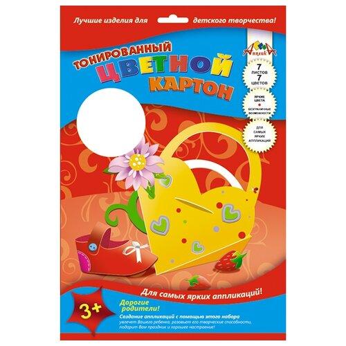 Купить Цветной картон тонированный Сумочка Апплика, A4, 7 л., 7 цв., Цветная бумага и картон